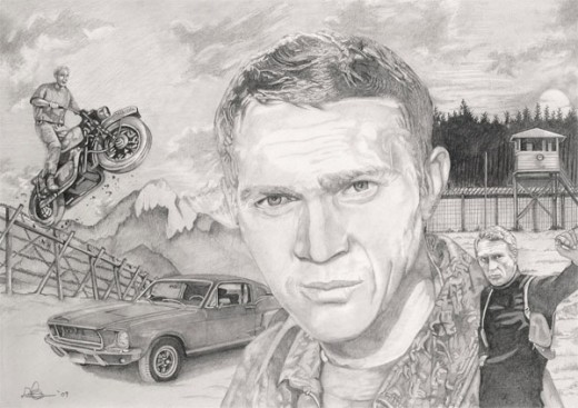 Limited edition print of Steve McQueen and the Great Escape by Dave Harris Art