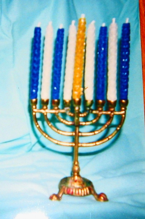 Hand Rolled Chanuka Candles in Menorah