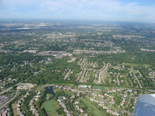 Aerial view of central West Chester Township.