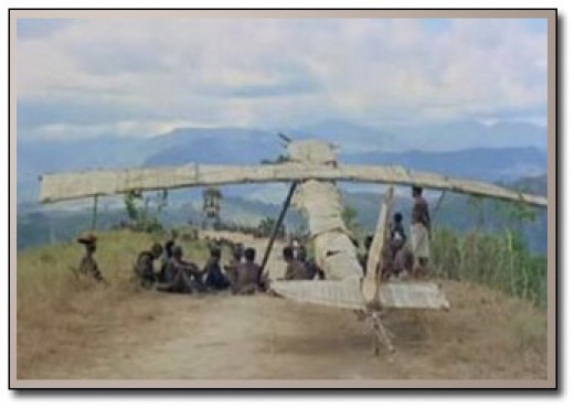 One of the most dramatic examples of modern day cargo cultism occurred when WWII pilots landed on a remote Pacific Ocean Island and impressed the natives with their god-like appearances. When the pilots left, the native built straw air-plane fetishes