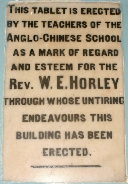 ACS Ipoh - Tablet remembering Reverend W.E. Horley