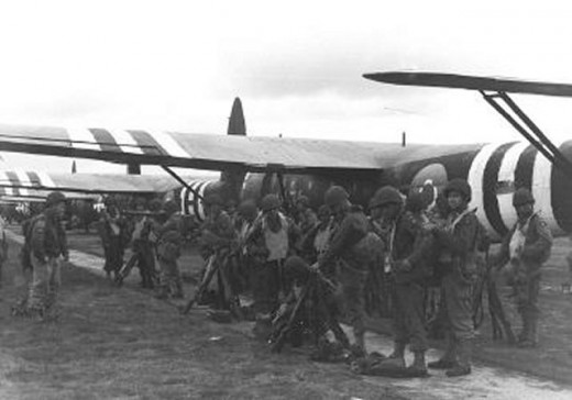 Soldiers waiting to embark on a glider to take them to Normandy