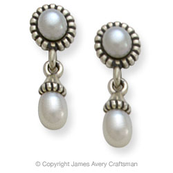 James Avery Silver Pearl Earrings