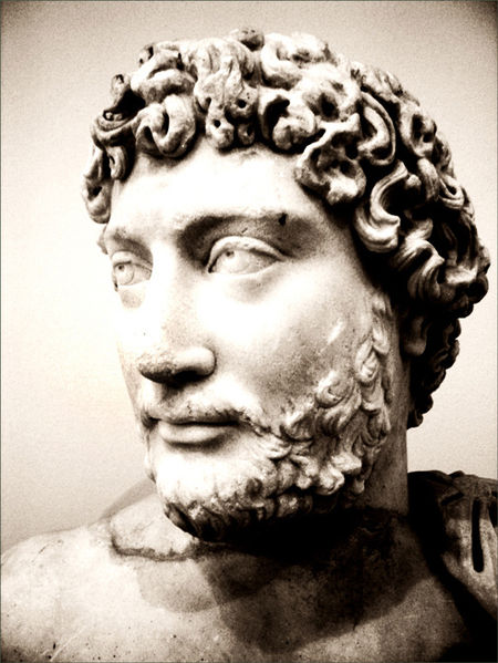 Bust of the emperor Hadrian (AD 117-138) showing the famous beard. National Archaeological Museum in Athens, Room 32. Heavily processed with photoshop. Wikipedia