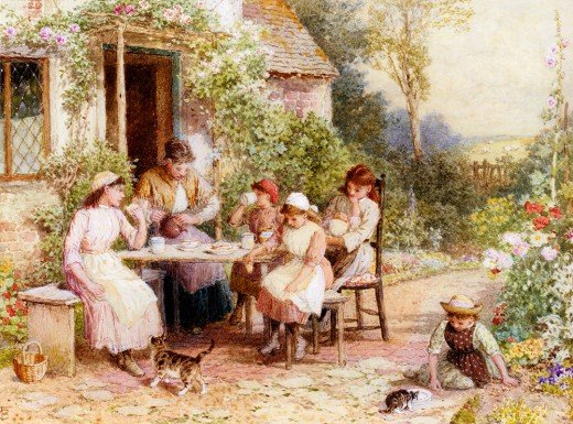Myles Birket Foster, 'Tea Time', from dutchartgallery.nl