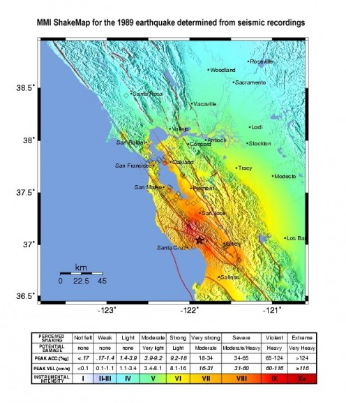 This is the map of the shaking intensity as felt from the 1989 Loma Prieta Earthquake. USGS image