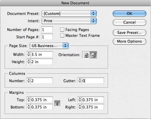 Creating a business card sized document in InDesign CS5 (Mac).