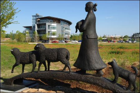 Heifer Sculpture w/ Headquarters in the background