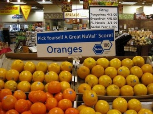 Oranges rank with blueberries in nutrition value according to the NuVal Nutritional Scoring System. Photo at NuVal.com.