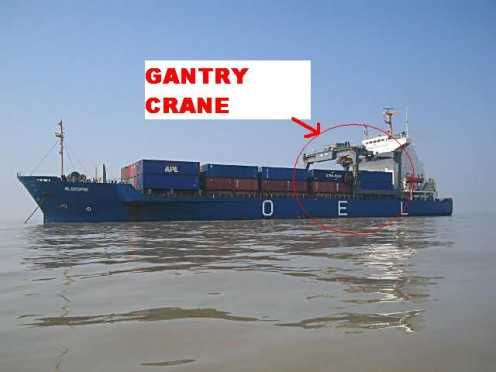 SHIP WITH GANTRY CRANE FOR CARGO OPERATION