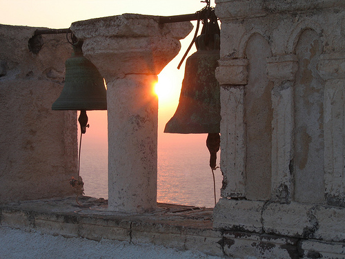 Church bells Santorini sunset by ~YiansiRoo (DeviantART)