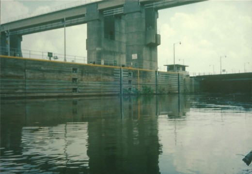 The inside of a lock on the Ohio River