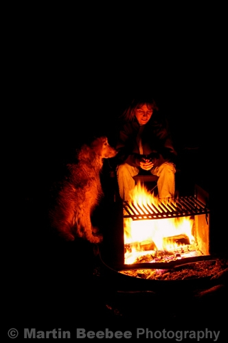 Fireside Golden Retreiver sits loyally with his human friend.