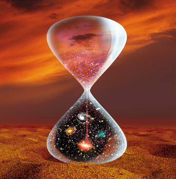The hourglass illustration of the big dilemma of the time and space trap.