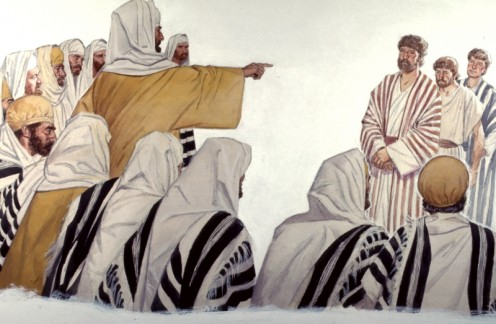 Peter and John were taken before the Sanhedrin because they had performed a miracle, healing a person, and were preaching about Jesus (Acts 4).