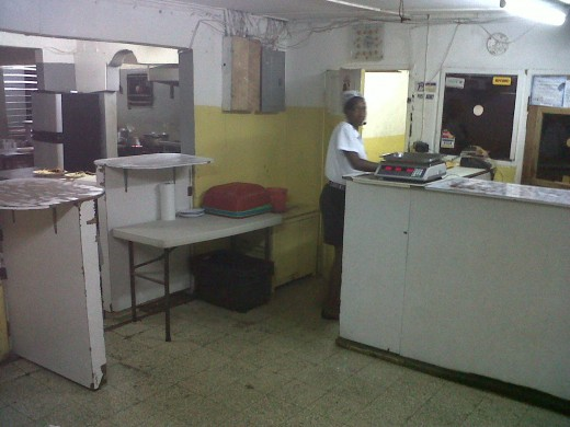 Spic and span customer service area where you place your order.