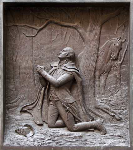 George Washington praying - Engraving on the side of the Federal Building