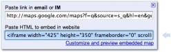 Google Maps Embed code box courtesy Google