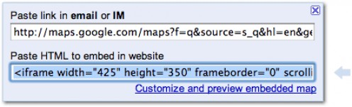 Google Maps Embed code box courtesy Google