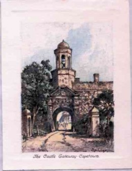 The Castle Gateway, Cape Town. The first stone of the Castle was laid in 1666, but the building was not completed until 1680. It was the seat of government and the centre of social life during the 17th Century.