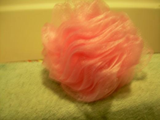 Ariel's pink rosebud bath sponge