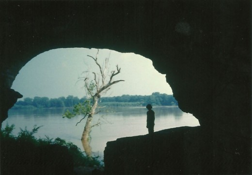 Cave in  Rock, Illinois with high water outside.