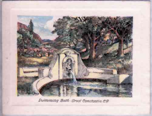 Swimming Bath, Groot Constantia, C.P. This beautiful oval-shaped bath with its fountain, designed by Anton Anreith, is approached through an avenue of oaks and is surrounded by vineyards.