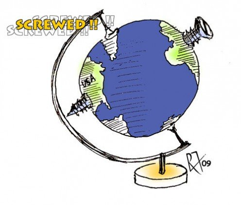 This is a clip art, I made at the beginning of the global recession in mid-2008. I did not have to use many words to pass on the point.              (c) rembrandz.com