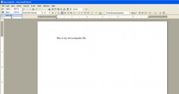 This is the word file I created. I'm saving it by clicking on the file menu in the upper left corner.