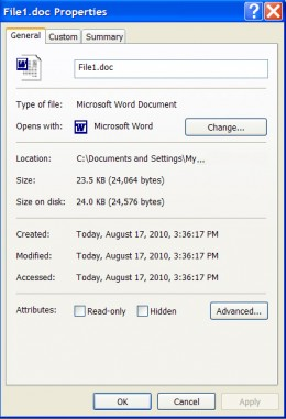 The properties window shows you all sorts of useful information about the file.