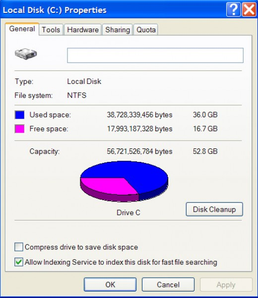 The properties of your Hard Drive shows a pie chart of how much space you have left.
