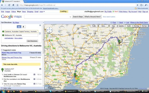 Driving Directions Route - Canberra to Melbourne, Australia