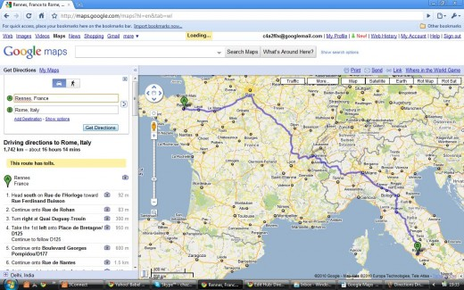Driving Directions Route - Rennes to Rome