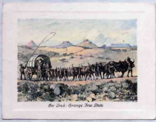 """On Trek"", Orange Free State. The poace of the ox-wagon is little more than a by-word today, but the history of South Africa is inter-woven with the exploits of the trek Boers."