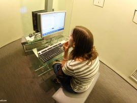 girl using computer -