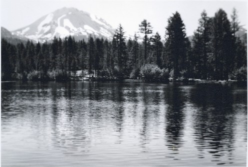 Mount Lassen as seen from across Manzanita Lake.