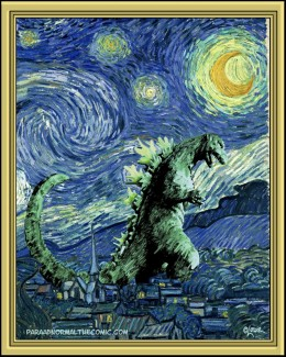 I just heard from Mr. Lowe, who graciously gave permission to post one of his cartoons. I was going to use his American Gothic spoof, but this one of Godzilla on a Starry Night is equally brilliant. Go look at his stuff at his own site now.