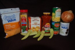 Home grown banana peppers with other key ingredients.