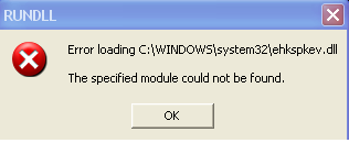 RUNDLL error caused by incorrect entry in the registry