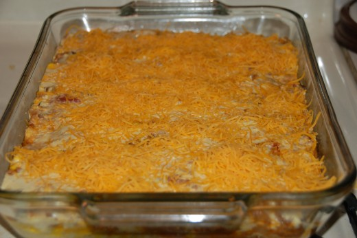 1 cup of cheddar cheese added to top.