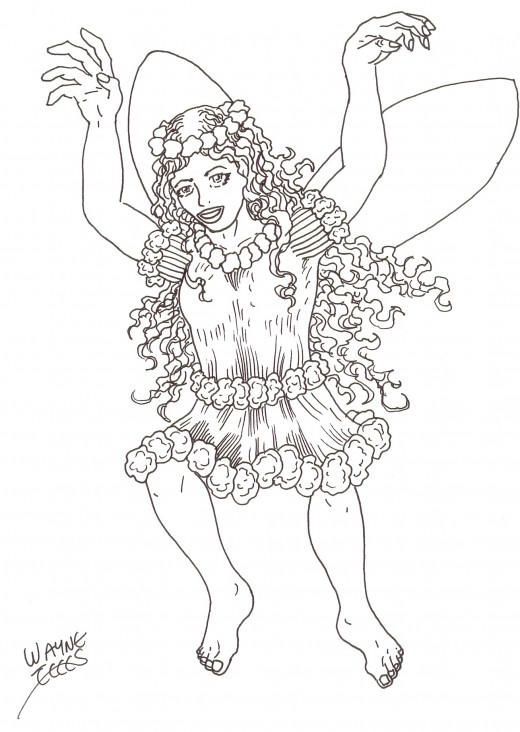 How to draw a fairy.  Fairy art Copyright Wayne Tully.
