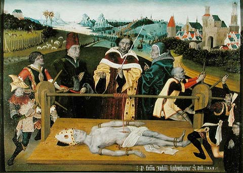 The martyrdom of St. Elmo, made by unknown painter from Netherlands, 1474