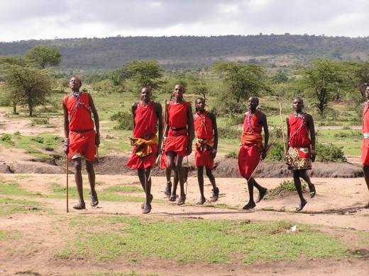 Dancing Maasai men