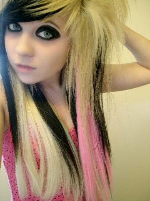 The seventh of my Emo Hairstyles is this amazing blonde, pink and black