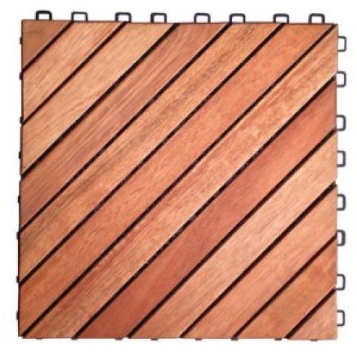 VIFAH V182 Interlocking FSC Eucalyptus Deck Tile 12-Slat Diagonal Design, 10-Pack, Natural Wood Finish, 11 by 11 by 1-Inch