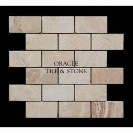 Romano 2X4 Filled and Honed Travertine Brick Mosaic Tile