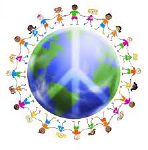 colorful world with peace sign and children around the world