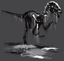 artistic velociraptor bones skeleton ink blood flesh museum