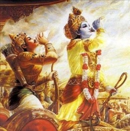 Lord Krishna and Arjuna blow their conches.