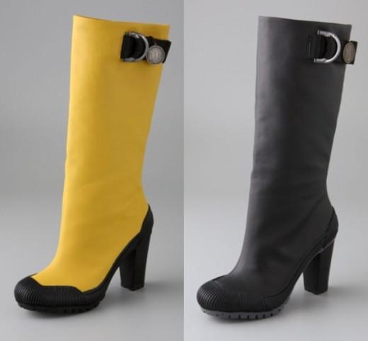 high heeled rubber boots